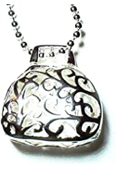 Sterling Silver 925 Filigree Purse Bag Pendant Necklace Charm Women's Jewelry
