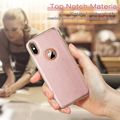 LOHASIC iPhone XS Case, iPhone X Case Slim Luxury Pink Soft Flexible PU Leather Anti-Slip Grip Scrat - http://coolthings.us