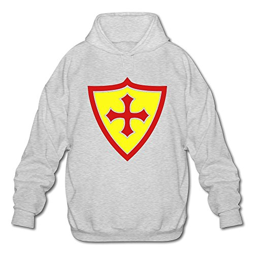 AWSY Men's Crusaders' Cross & Shield Long Sleeve Hoodie Ash