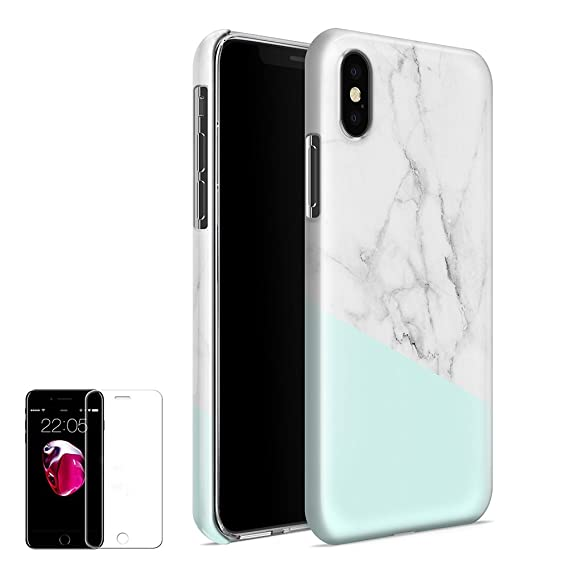 pretty nice 9ac0b 7307b Obbii Case for iPhone X/XS (5.8 inch) Unique Tiffany Marble Design Hybrid  Slim Hard Shell+ Inner TPU Protective Durable Cover Case with Clear Screen  ...