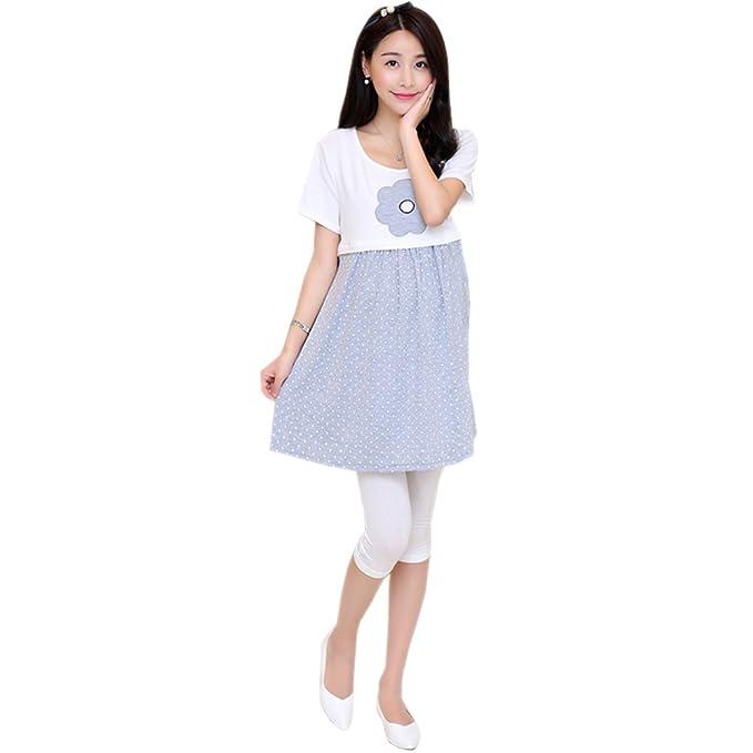 KINDOYO Moda Color Caramelo Embarazada Ropa de Maternidad Vestido Corta Lactancia Materna Vestido, Gris,