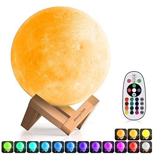 3D Moon Lamp (Diameter 5.9 inch), Morpilot 16 Colors 3D Print Moon Light Home Decorative Lights Night Light with Remote & Touch Control and USB Recharge for Baby Kids Lover Birthday Gifts (5.9)