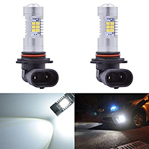 KaTur Super Bright 9006 HB4 LED Fog Bulb Daytime Lights Car DRL Driving Lamp 2835 21SMD Led Car Driving Daytime Running Lights Xenon White 6000K DC 12V 80W (Pack of 2)