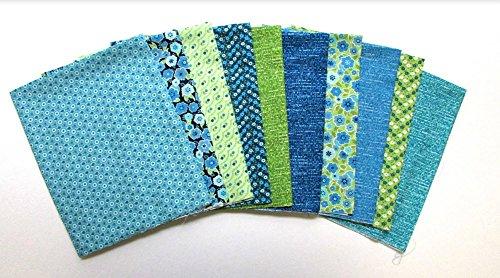 Calico Quilting Fabric - Soho Calico Blue 10 pc Cotton Fabric Quilting FQs Assortment by Benartex Studio