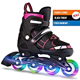 ANCHEER Adjustable Rollerblades Women/Kids for Boys Girls Light Up Wheels Inline Skates Outdoor Pro 3 Size