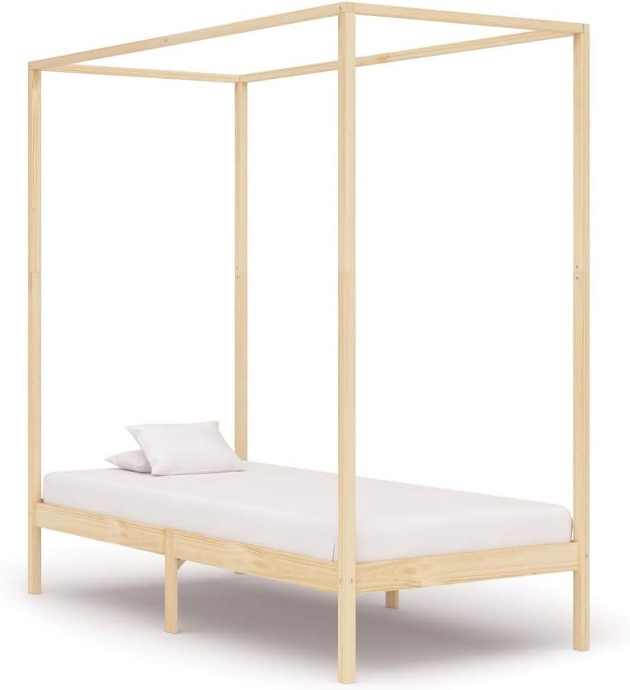 vidaXL Madera Maciza de Pino Estructura de Cama Individual con Dosel Blanco 100x200 cm Somier Muebles de Dormitorio Habitaci/ón