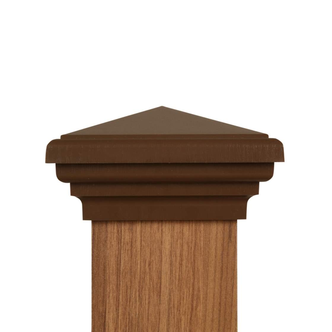 4x4 Post Cap (3.5'' x 3.5'') - Brown Pyramid Top (Case of 12) - With 10 Year Warranty