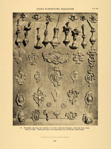 1921 Print Italian Decorative Pieces Cartouches Frames - Original Halftone Print from PeriodPaper LLC-Collectible Original Print Archive
