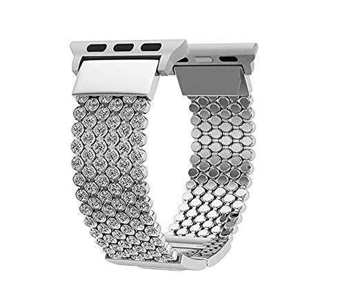 EVAVE for iWatch Bands Bling 42mm Women, Diamond Loop Replacement Strap for iWatch Series 1, 2, 3, Sport Edition Nike(Sliver_42mm) by EVAVE