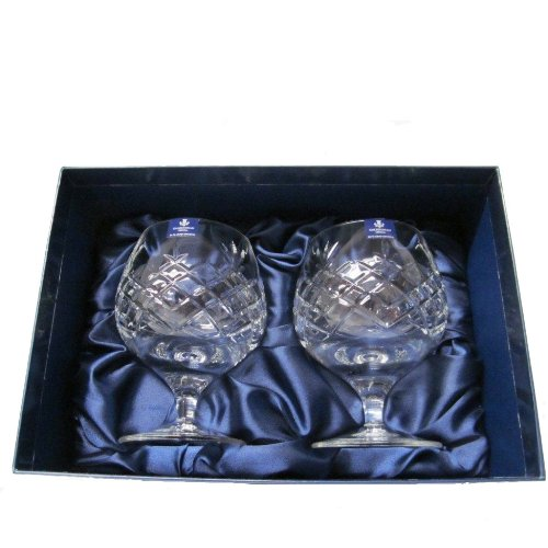 Caledonian 24% Cut Lead Crystal Cognac Brandy Glasses in Silk Lined Presentation Box