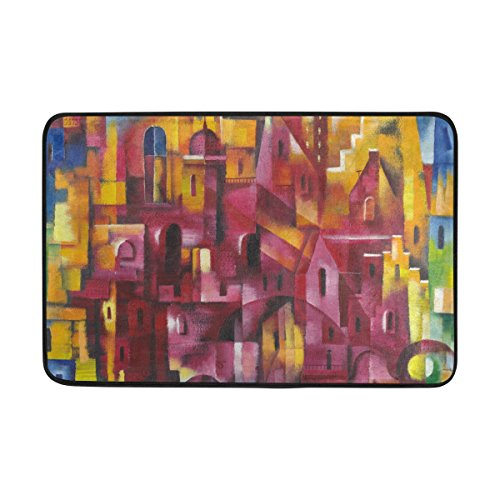 Blue Viper Vintage Abstract Colorful Street Pattern Non-Slip Doormat for Home Living Room Bathroom Kitchen Outdoor Outside Indoor Entrance Way Front Door 23.6 x 15.7 (Main Street Collection Monogram)