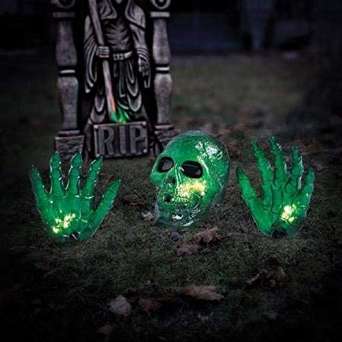 4' Wide Green Lighted Ground Breaker Skull / Transparent Skeleton With Hands Halloween Decoration]()