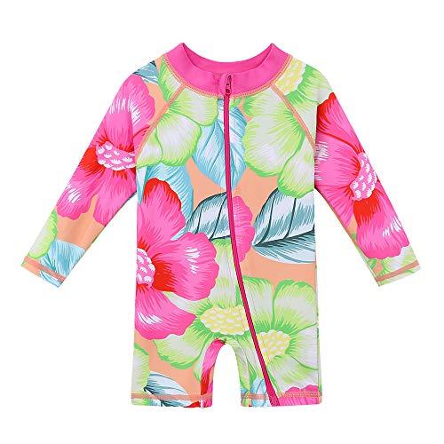 - HUANQIUE Baby/Toddler Girl Swimsuit Long Sleeve One-Piece Swimwear Rashguard Flower 6-12 Months