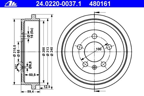 ATE 24.0220-0037.1 Bremstrommel