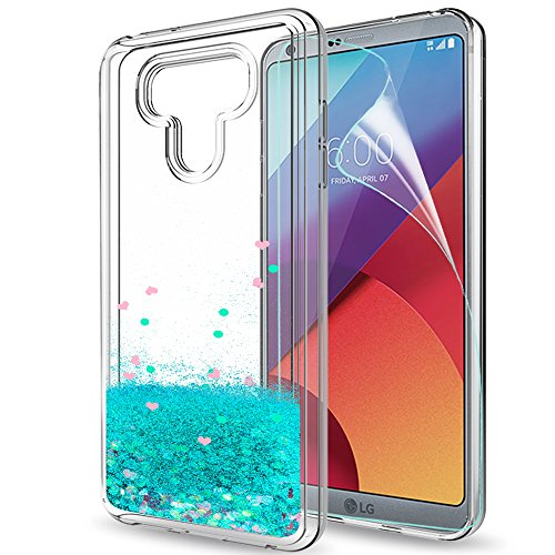 LG G6 Case,LG G6 + Glitter Case with HD Screen Protector for Girls Women,LeYi Bling Shiny Moving Quicksand Liquid Clear TPU Protective Phone Cover Case for LG G6 / LG G6 Plus ZX Turquoise
