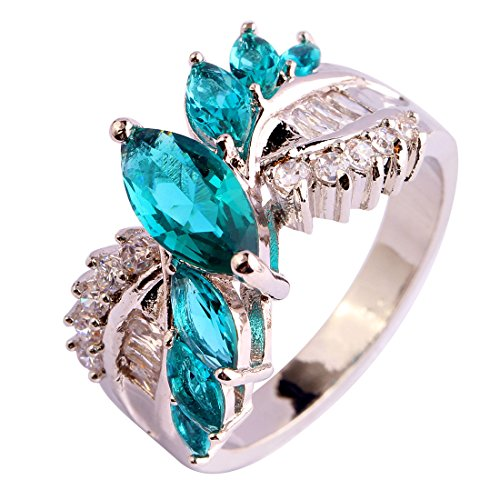 Psiroy Women's 925 Sterling Silver 1.5ct Green Topaz Filled Ring