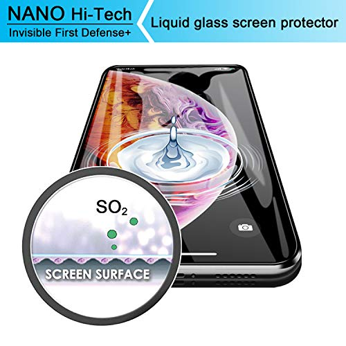 Liquid Glass Screen Protector - Ewadoo Scratch Resistant Wipe On Screen Protector for Samsung S9+/ Note 8 & Smartphones & Tablets - Nano Hi-Tech Invisible Coating Film for iPhone X/XS/XS Max/XR (Smartphone Glass Screen Protector)