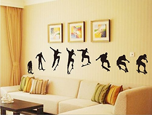 Revesun Creative Sticker Skateboard Rides Wall Stickers For Kids Rooms Wall Decals Kids Adesivos Decorativos Mural Adesivos Decorativos Skateboard Wall Murals