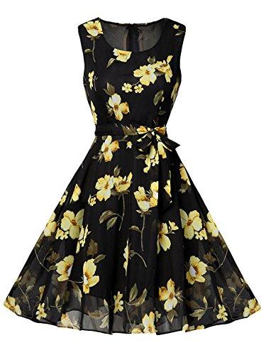 FEOYA Womens Vintage Printed Sleeveless Chiffon Summer Dress Black & Yellow, US S(Tag Asian L)