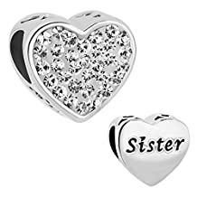 Charmed Craft Heart Sister Charm Beads For Bracelet