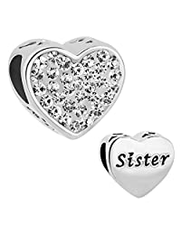 Charmed Craft Heart Sister Charm Beads for Bracelet
