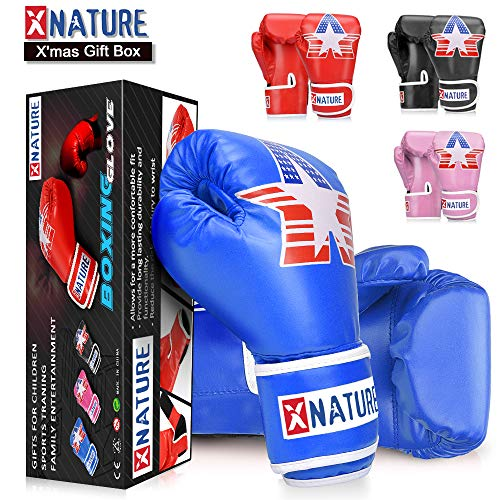 Xnature 4oz 6oz 8oz PU Kids Boxing Gloves w/Gift Box Children Cartoon MMA Kickboxing Sparring Youth Boxing Gloves Training Gloves Age 5-12 Years Blue