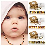 Natural Baltic Amber Teething Necklace For Babies - Anti Inflammatory, Drooling & Teething Pain Relief - Different Colors - Raw, Polished & Unpolished - Unisex, 12.5 Inches - Perfect Baby Shower Gift