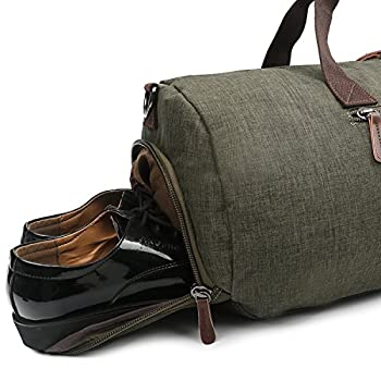 Waterproof Round Duffle Travel Bag Sports Gym Tote with Shoe Compartment (Green)