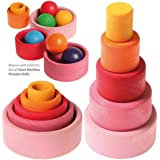 Grimm's Set of 5 Small Wooden Stacking & Nesting Rainbow Bowls, Lollipop Colors
