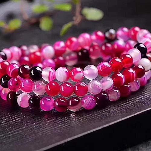MGZDH 6mm Rose Red Stripe Agate Multi Circle Bracelet Silk Agate Hand String Crystal Jewelry Fashion Ladies Bracelet ()