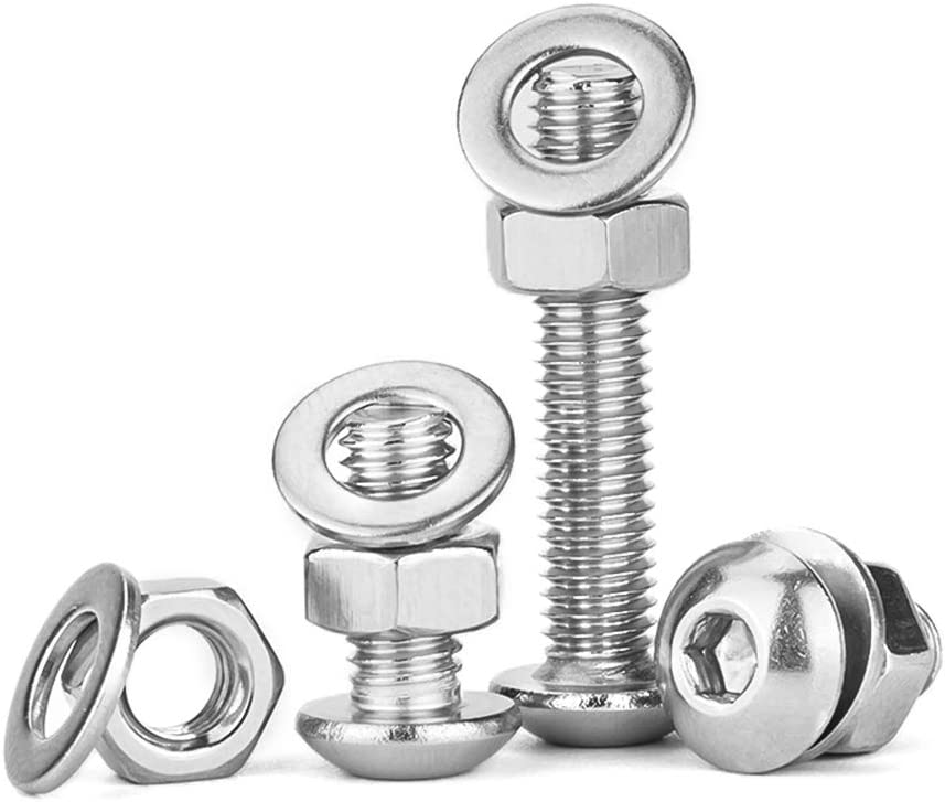 M3 M4 M5 Screw Nuts Washers Set Stainless Steel Hex Socket Cap Head Screws with Hex Nut Washers 13 Types Pan Head Screw Bolts Nuts