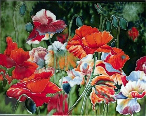 Flowers Tile - Continental Art Center HD 035 Poppy Flower Field Art Tile, 11 by 14-Inch