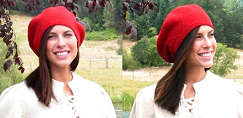 100% Pure Baby Alpaca Knit Beret - Soft Slouchy Style Tam for Women (Dark Red)