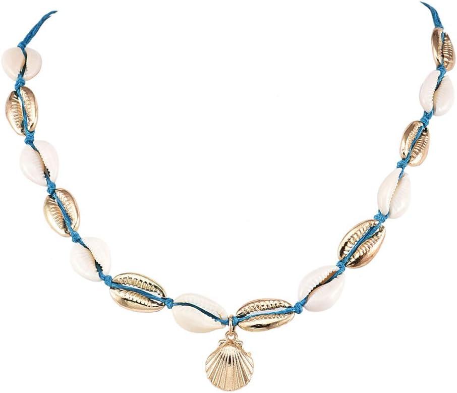 Pinhan Boho Muschel Muschel Anh/änger Halskette Sommer Strand handgefertigt gewebt Kurze Choker Frauen Partei Schmuck
