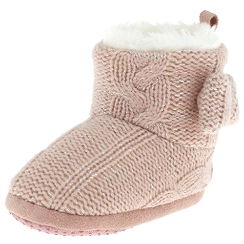 Metallic Trim Boot - Capelli New York Infant Girls Metallic Knit Boot With Bow Trim Pink 2