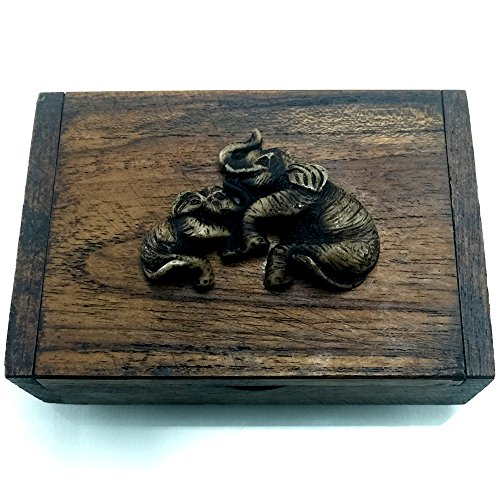 THAI Elephant Name Card Jewelry Earrings Rings Necklace Trinket Storage Teak Wood Box #0203 by 8e8.mona.shop
