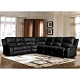 Sectional Sofa With Recliner Faux Leather Upholstery Overstuffed Seats And Leg Glides With Wood In Black And Brown plus FREE GIFT (Black)