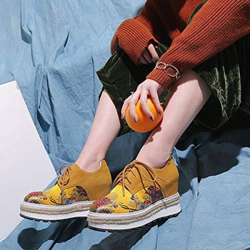 Tamaño Casuales Jincosua Bordados 38 Estilo Zapatos Amarillo color Chino Mujer Plataforma De nqTAq1v