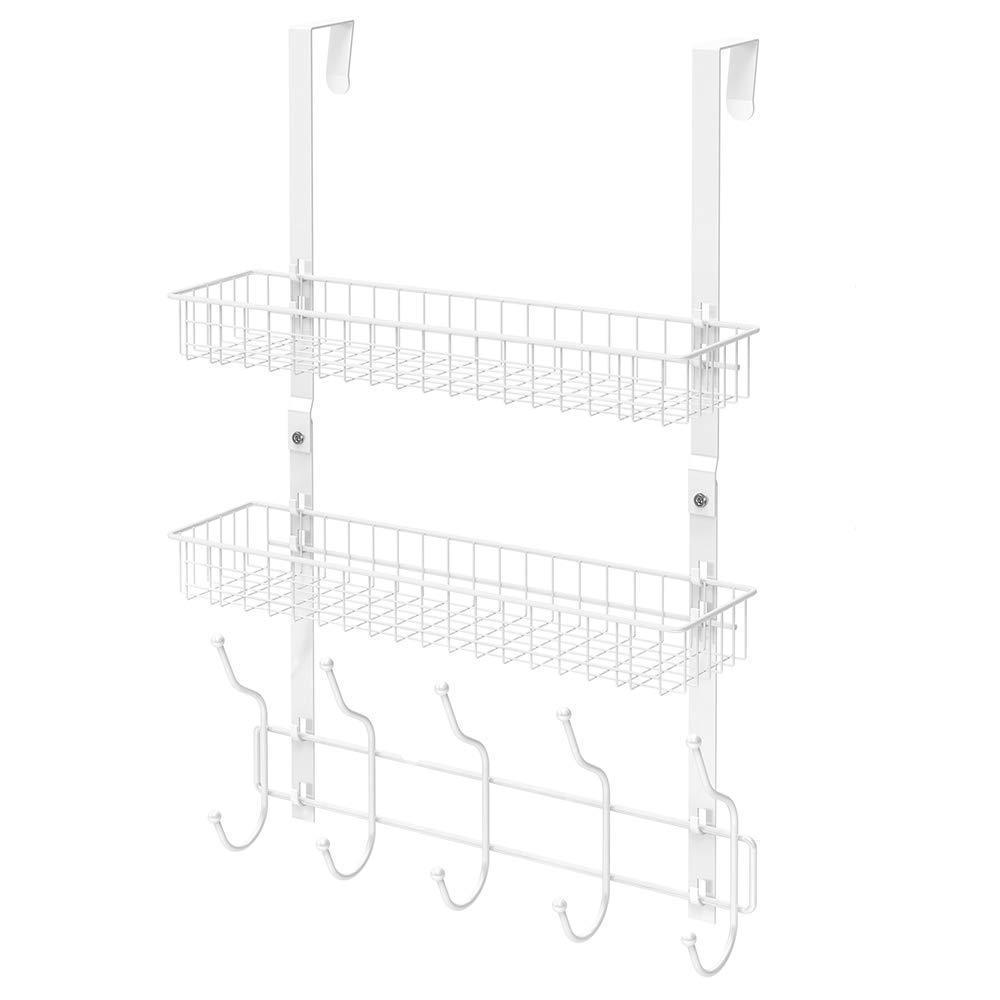 NEX Upgrade Over The Door Hook Shelf Organizer 5 Hooks with Basket Storage Rack for Coats & Towels (White- 2 Basket)