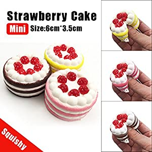 LtrottedJ Mini Strawberry Cake Squishy Slow Rising Cream Scented Decompression Cure Toy (Yellow)