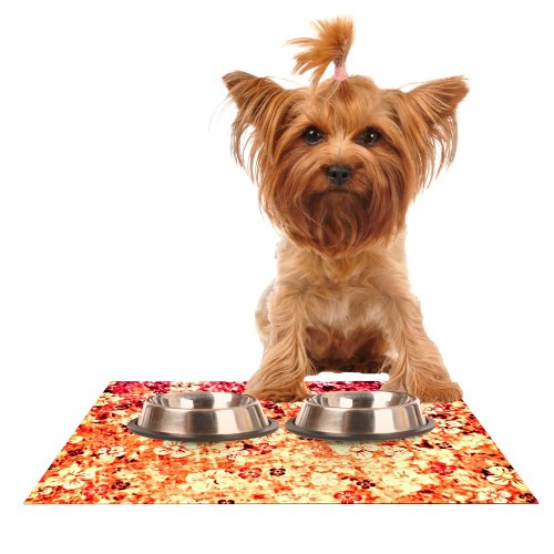 KESS InHouse Ebi Emporium Flower Power in orange  Red Floral Feeding Mat for Pet Bowl, 18 by 13-Inch