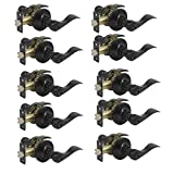 10 Pack Probrico Door Lever Privacy Door Lock Doorknobs Handle Hardware Keyless Lockset for Storage Room Bedroom Bathroom Without Key in Black-Right/Left Handed Reversible