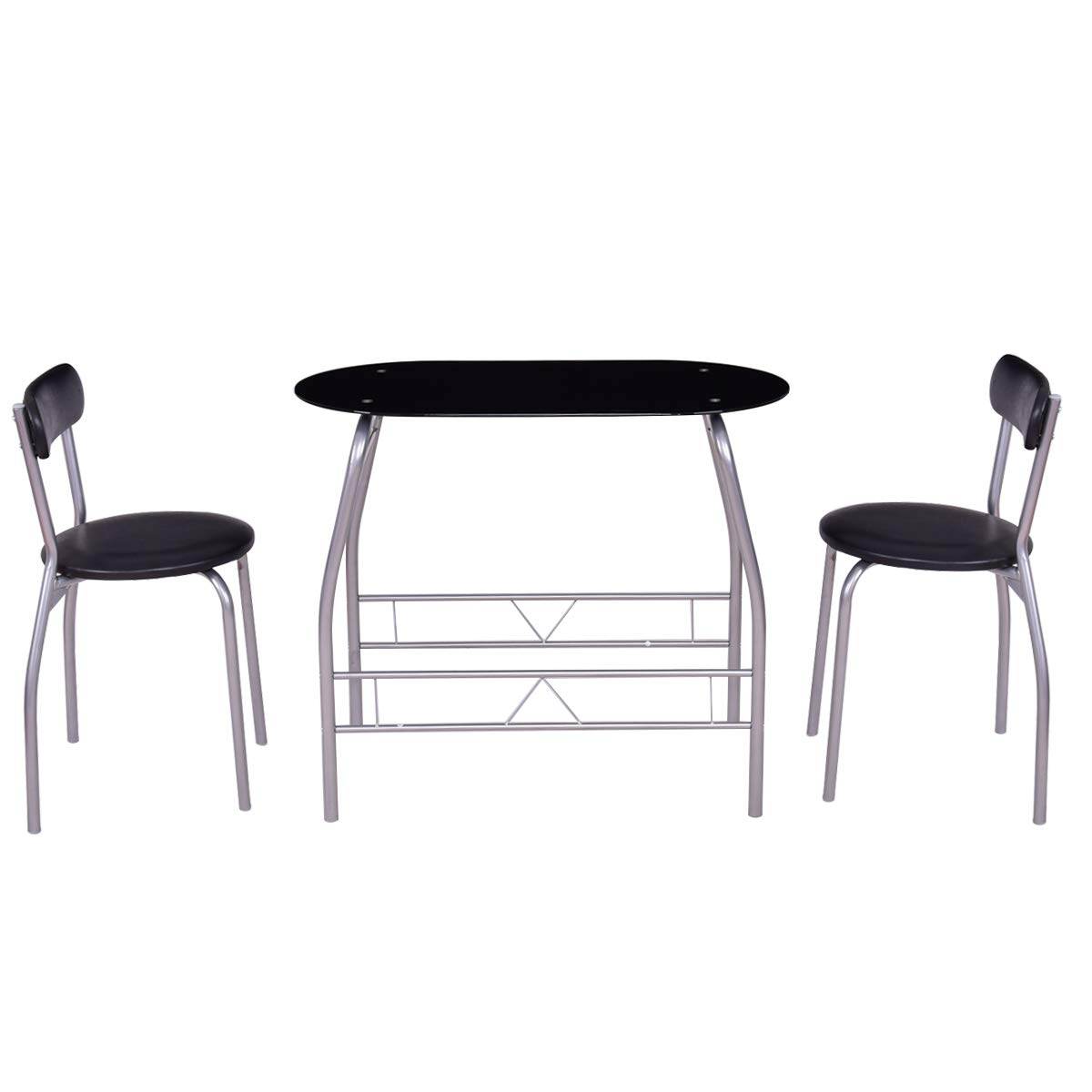 Dawndior 3 Piece Dining Home Kitchen Bistro Pub Breakfast Furniture Metal Frame Glass Top Table and 2 Chairs Set,Black and Silver