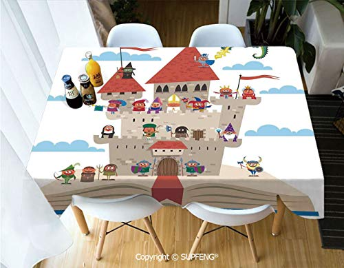 Picnic Tablecloth Fairy Tale Story Book Castle King Queen Princess Dragon Witch Knight Wizard Vikings Theme Print (60 X 84 inch) Great for Buffet Table, Parties, Holiday Dinner, Wedding & More.Deskto
