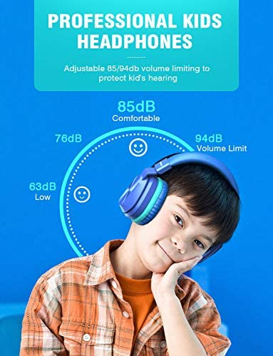 PeohZarr Kids Headphones With Mic, 85dB/94dB Safe Volume Limited On-Ear Headphones For Kids Girls Boys, 3.5mm Jack Stereo Foldable Wired Headphones For Cellphones/Tablet/Kindle/School/Travel