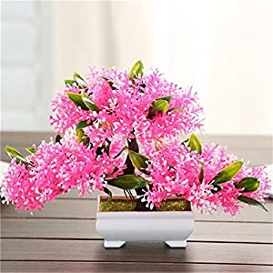 Suyunyuan Flowers 5 Color Artificial Bonsai Tree Welcoming Fake Flower Green Plant Pine Trees Flower Potted Vase Wedding Home Decoration 10