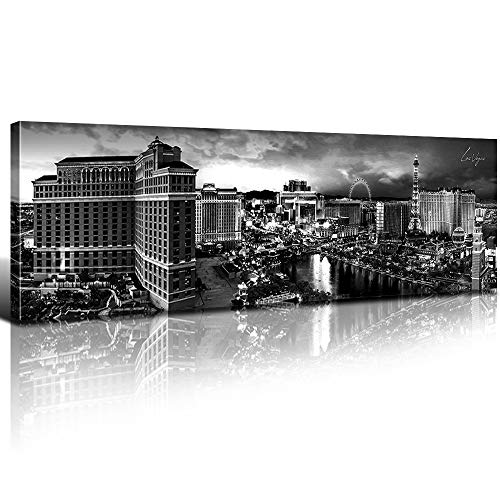 sunfrower - Las Vegas Skyline Decor Canvas Wall Art Black and White Aerial View Building Cityscape Harbor Panoramic Print Painting Urban Landscape Picture Modern Home Framed Decoration 8