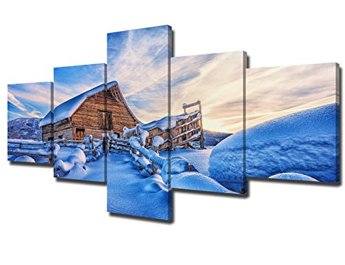 Pictures for Living Room Cabin in Snow Winter Wall Art Painting Landscape Canvas 5 Panel Artwork Cottage Home Decor Modern Framed Gallery-wrapped Stretched Gallery-wrapped Ready to Hang(50''Wx24''H)