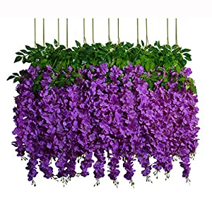 U'Artlines 12 Pack 3.6 Feet/Piece Artificial Fake Wisteria Vine Ratta Hanging Garland Silk Flowers String Home Party Wedding Decor Extra Long and Thick 60