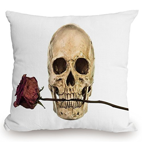 Throw Pillow Cushion Cover,Gothic Decor,Skull with Dry Red Rose in Teeth Anatomy Death Eye Socket Jawbone Halloween Art Decorative,Decorative Square Accent Pillow Case